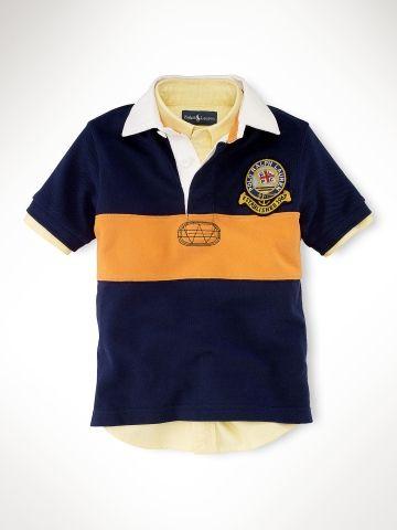 9a519a995 Striped Patch Rugby - Boys 2-7 Polos - RalphLauren.com Polo Shirt Brands