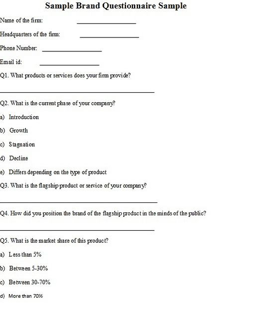 Sample Brand Questionnaire Sample Brand Is Created In The Minds Of