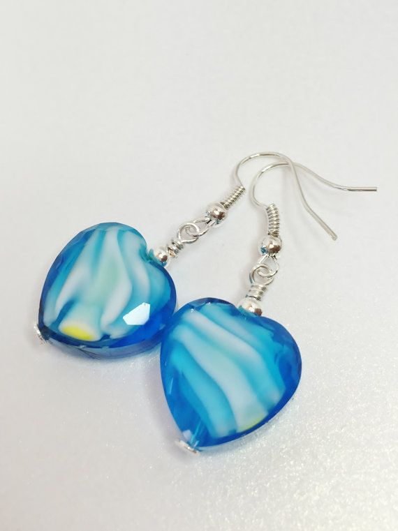 Blue Beaded Lampwork Earrings Blue and White by LynnsGemCreations