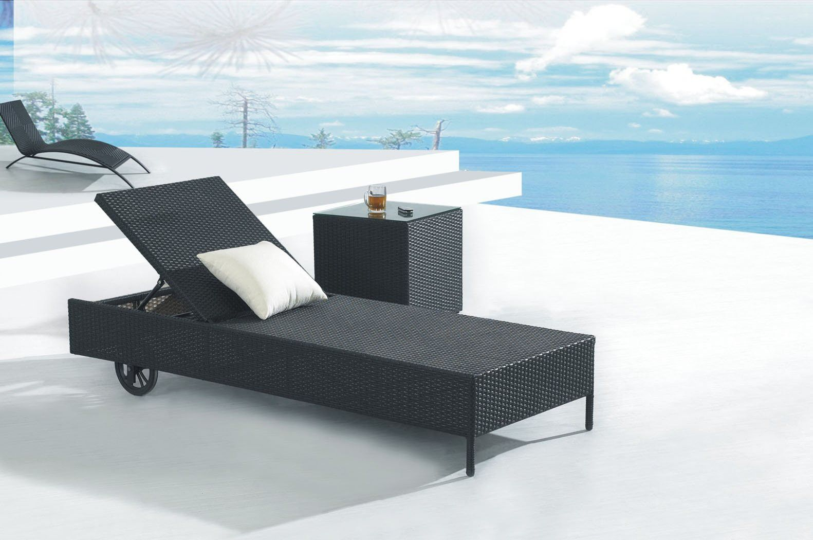 Modern Black Wicker Chaise Lounge Chairs With Roller Outdoor Chaise Lounge Chair Patio Chaise Lounge Lounge Chair Outdoor