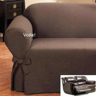 Reclining Loveseat Slipcover Ribbed Texture Chocolate Adapted For