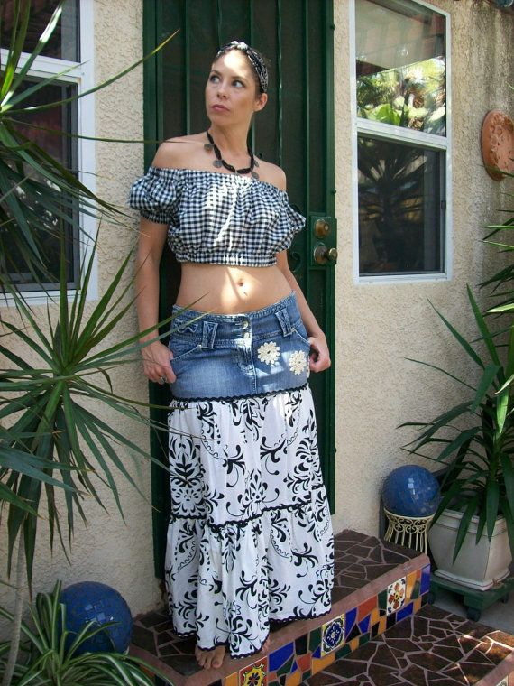 upcycled clothing maxihippie skirt country western