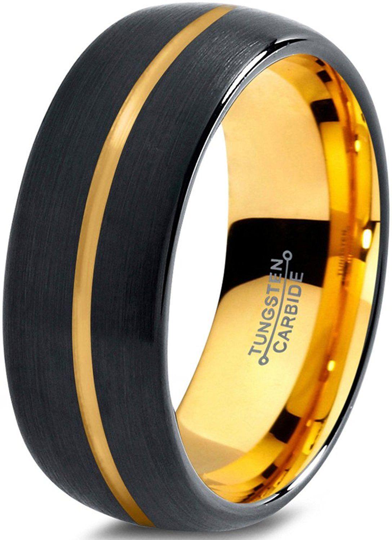 Tungsten Wedding Band Ring 8mm for Men Women Black & 18K