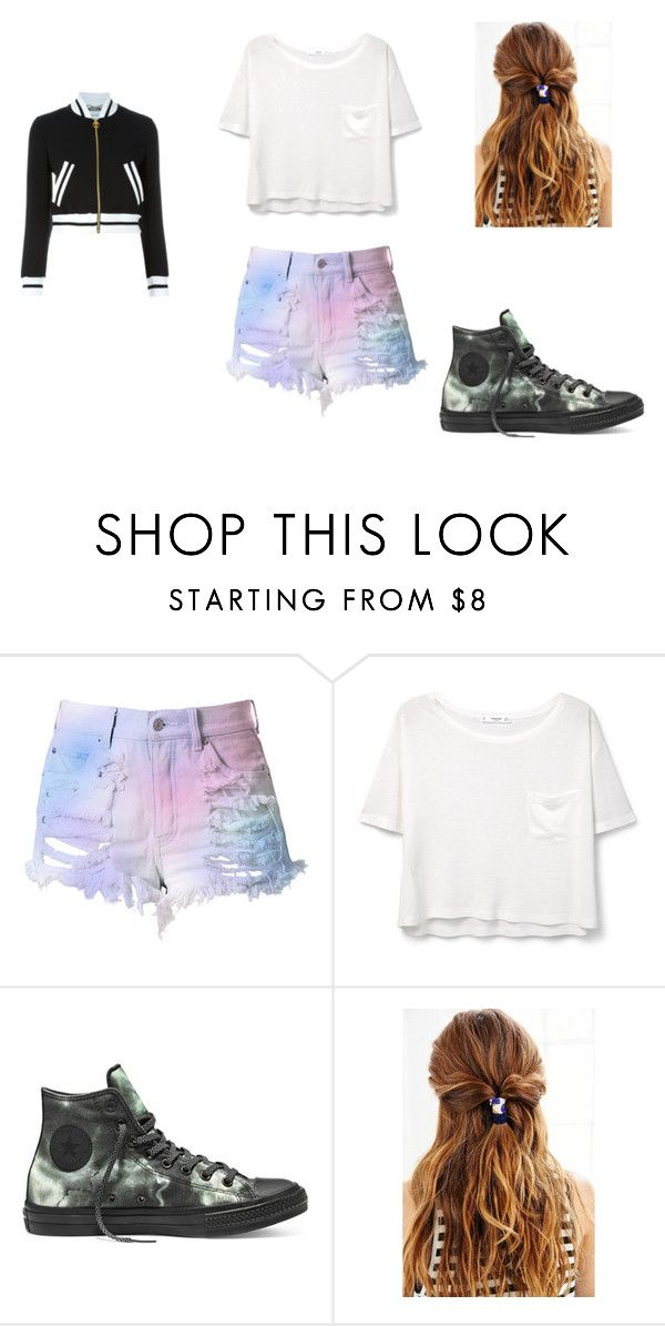 """""""something to where to school with jacket"""" by marciab21 on Polyvore featuring Cotton Candy, MANGO, Converse, Urban Outfitters and Moschino"""