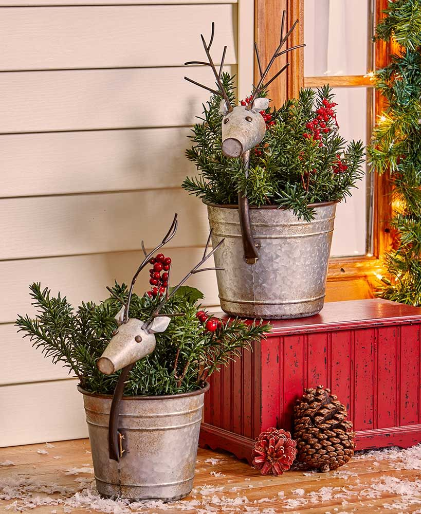 set of 2 reindeer planters christmas decorations winter on favorite diy fall decorating ideas add life to your home id=93891