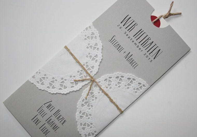Hochzeitskarte Vintage Mit Spitze Und Naturkordel In Der Farbe Grau