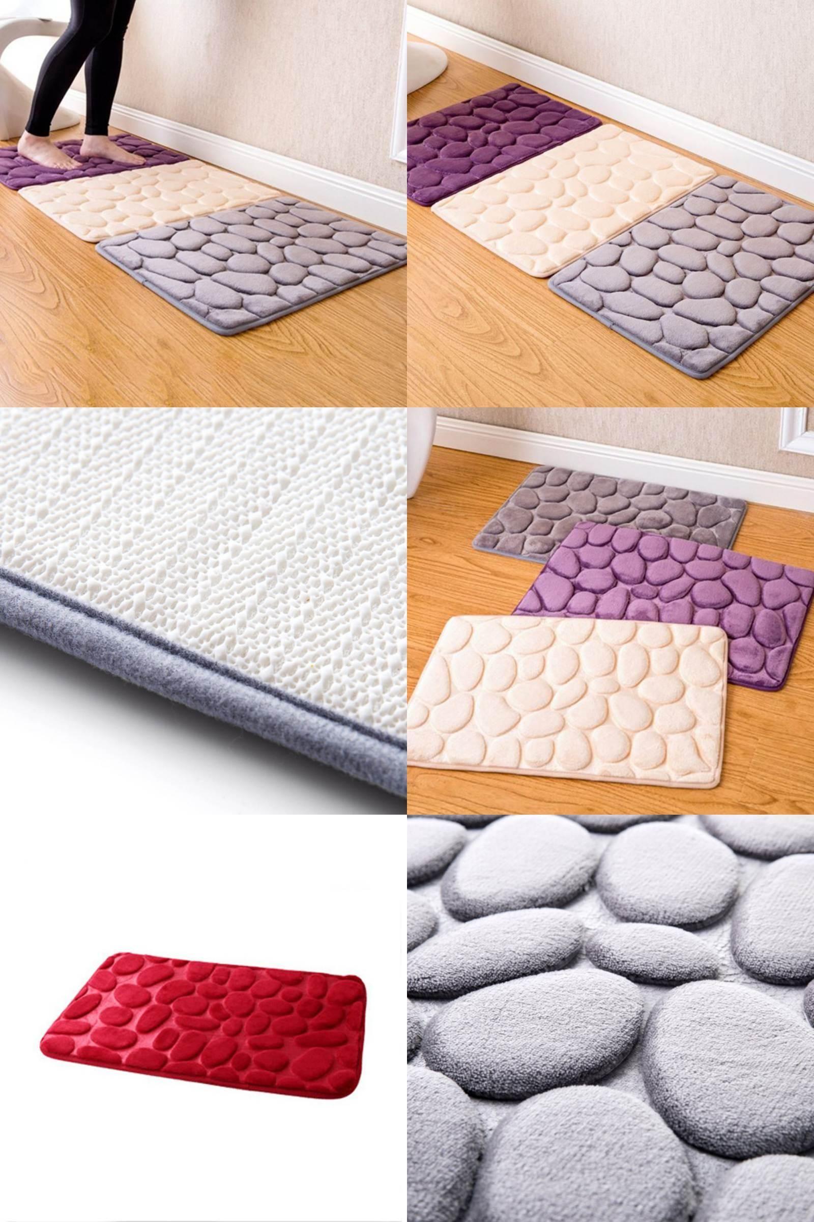 Visit to Buy] Coral Fleece Bathroom Memory Foam Rug Kit Toilet