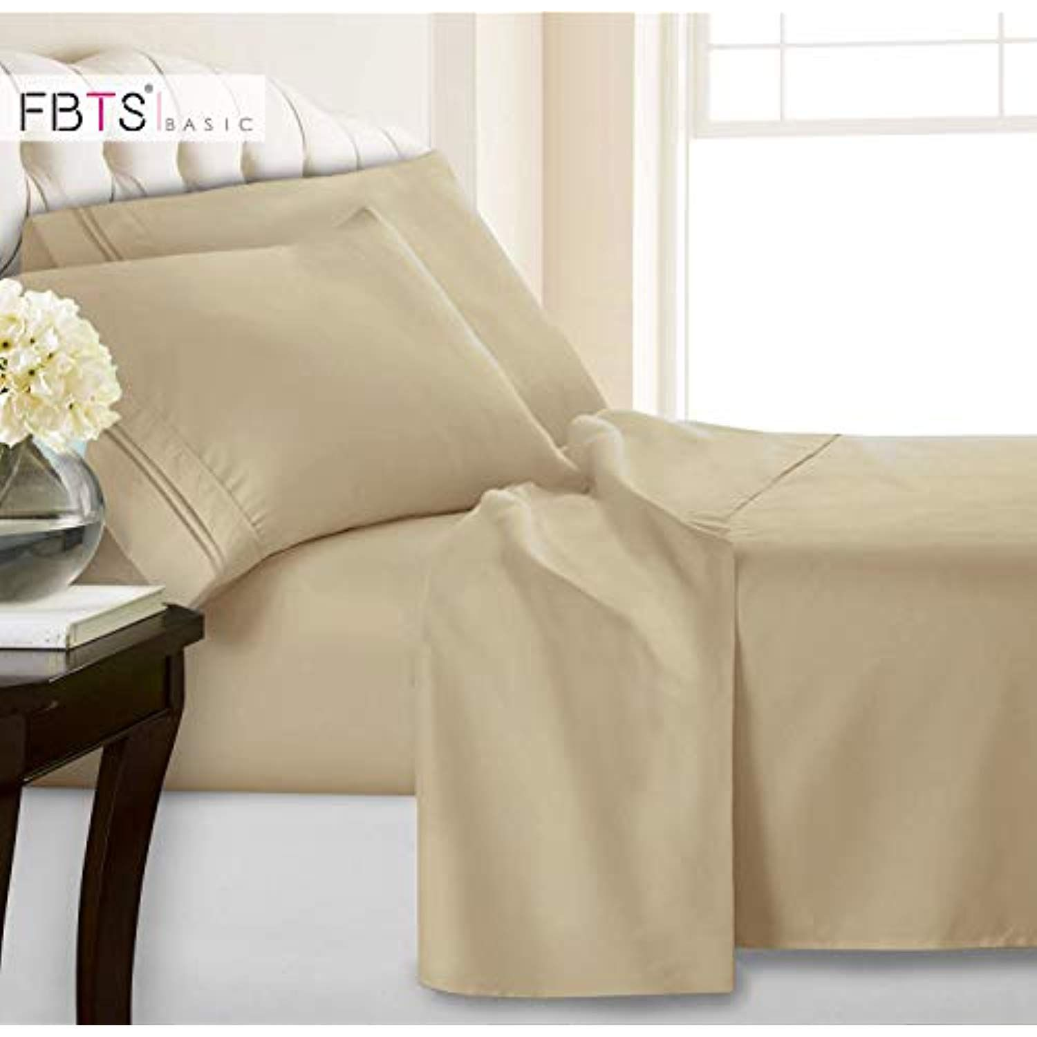Queen Sheets Fitted Flat 4 Piece Bed Sheet Set 1800 Hotel Luxury Soft Hypoallergenic Microfiber Adjustable 15 18 Bed Sheets King Bed Sheets Bed Sheet Sets 18 inch deep pocket queen sheets