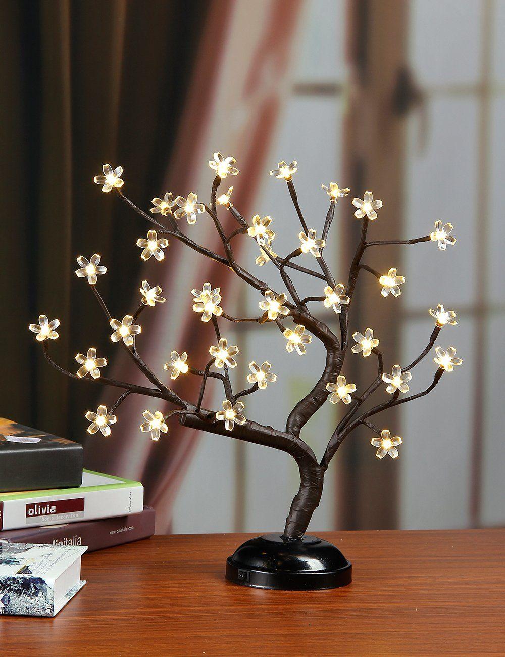 Lightshare16Inch 36LED Cherry Blossom Bonsai Light Warm ...