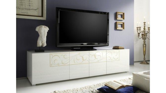 banc tv laque blanc avec arabesques