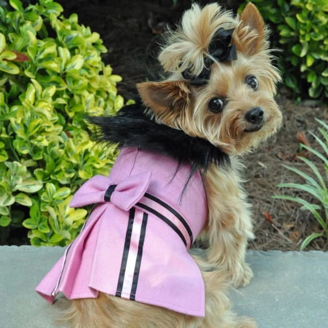 Wool FurTrimmed Dog Harness Coat Pink (With images