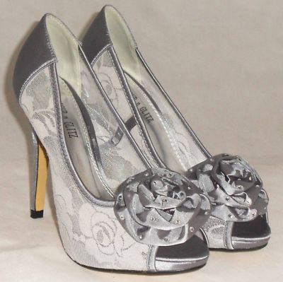 Image detail for -Ladies Silver Grey Lace beaded rosette toe high heel evening wedding ...