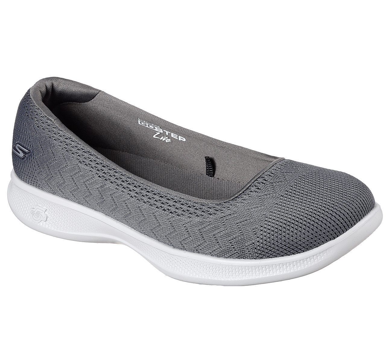 4d8c90b2a81a 14476 Charcoal Gray Skechers Shoes Go Step Lite Women Slip On Casual Sporty  Walk