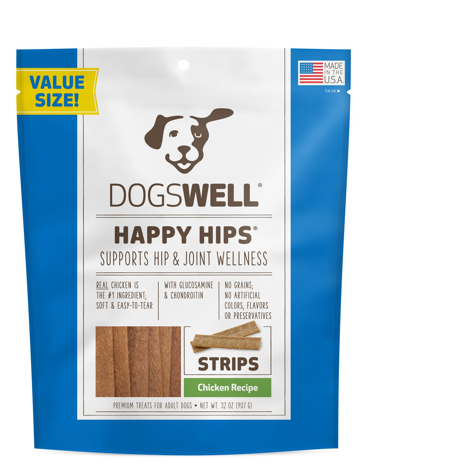 Dogswell Happy Hips Dog Treat Grain Free Hip And Joint Health Chicken Strips Size 32 Oz Adult Chicken Dog Treats Chicken Treats Dog Treats Grain Free