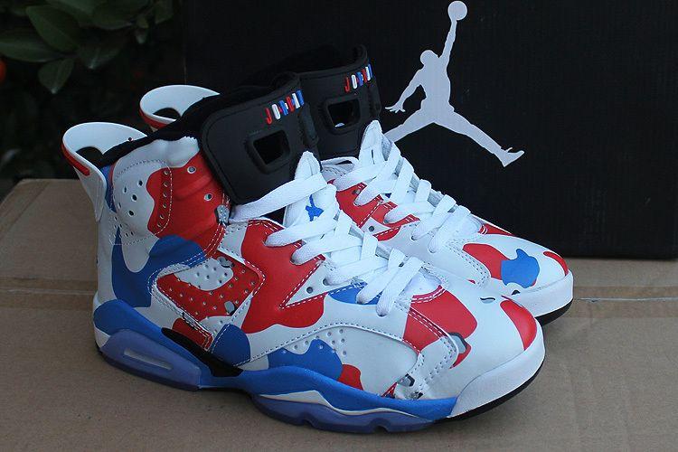 white and blue jordans 6