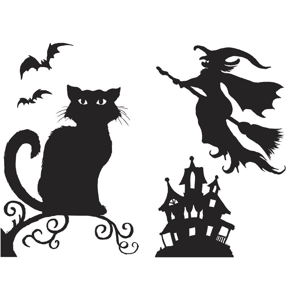 halloween silhouettes halloween decorations spooky halloween window silhouettes. Black Bedroom Furniture Sets. Home Design Ideas
