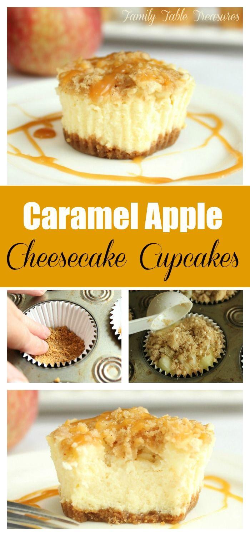 Caramel Apple Cheesecake Cupcakes - Family Table Treasures #cheesecakecupcakes
