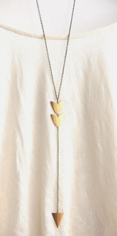 Long arrow brass pendant necklace arrow short code and tribal long arrow brass pendant necklace mozeypictures Choice Image