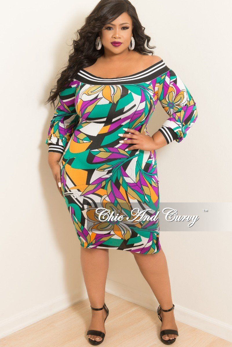 3ee7786409b3 Plus Size Off the Shoulder Dress in Purple and Green Multi Color – Chic And  Curvy