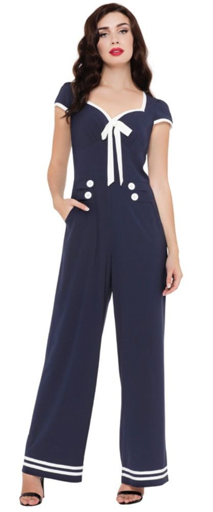 fd87080ba47 Voodoo Vixen Jumpsuit Navy Jolene 50s Vintage Rockabilly Summer Dress  JSA5612 in Clothes