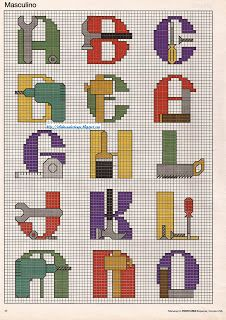 DIY alphabet part 1 - free cross stitch pattern