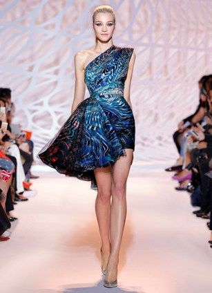 Zuhair Murad Short One Shoulder Tail Dress With Asymmetrical Ruffle In Printed Crimson Shire And Jade Stripes