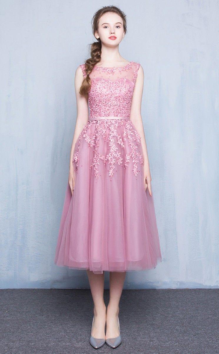 pink tea length formal dresses