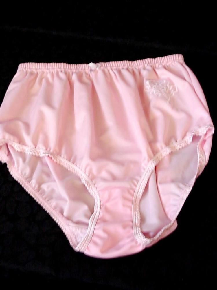 bf3d35542 Vintage Silky Nylon Pink High Waist Granny Panties with Rose Design No tag
