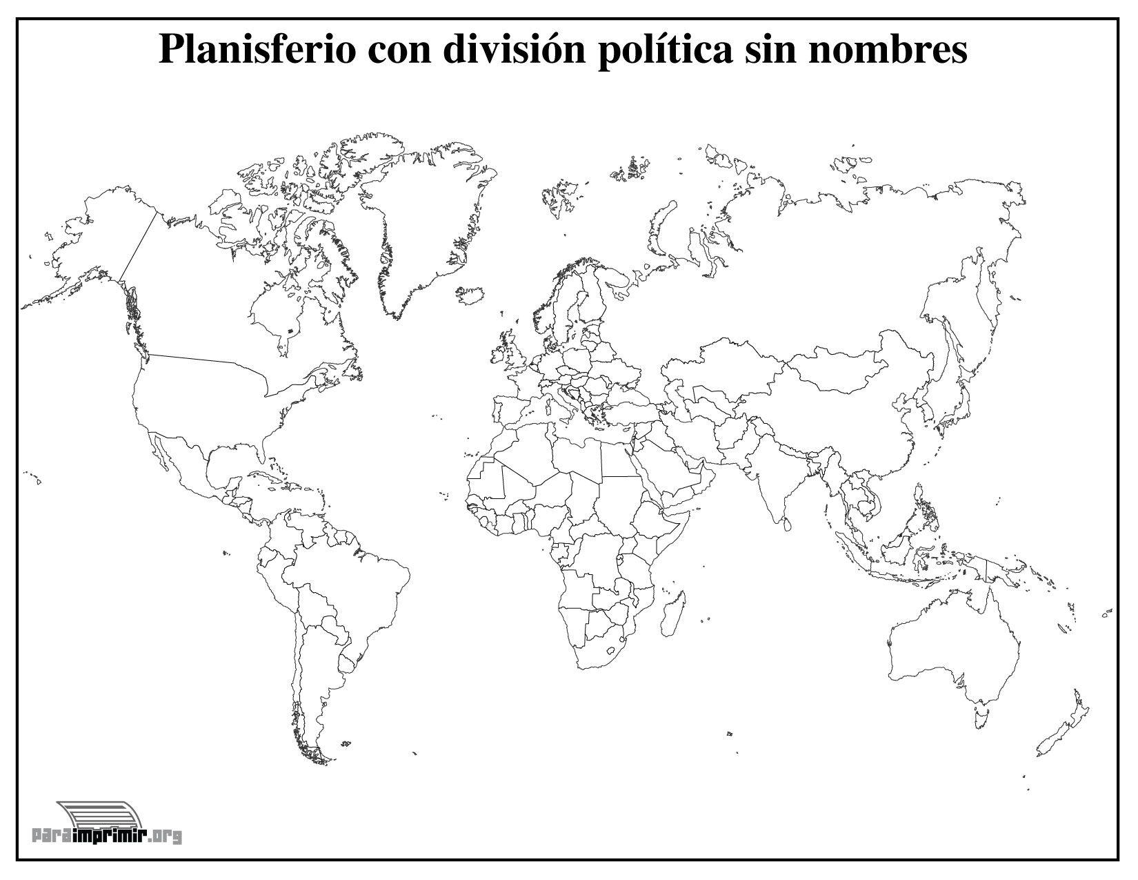 Imagenes Sin Colorear: Mapamundi Con División Política Sin Nombres Para Imprimir