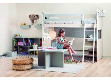 Chambre enfants avec lit superpose table de jeu et - Lit superpose sur mesure ...