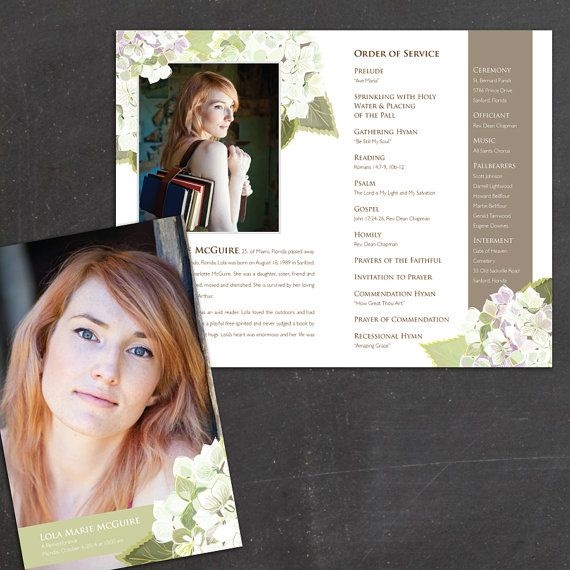 Hydrangea program is a personalized printable DIY funeral - 35 printable obituary
