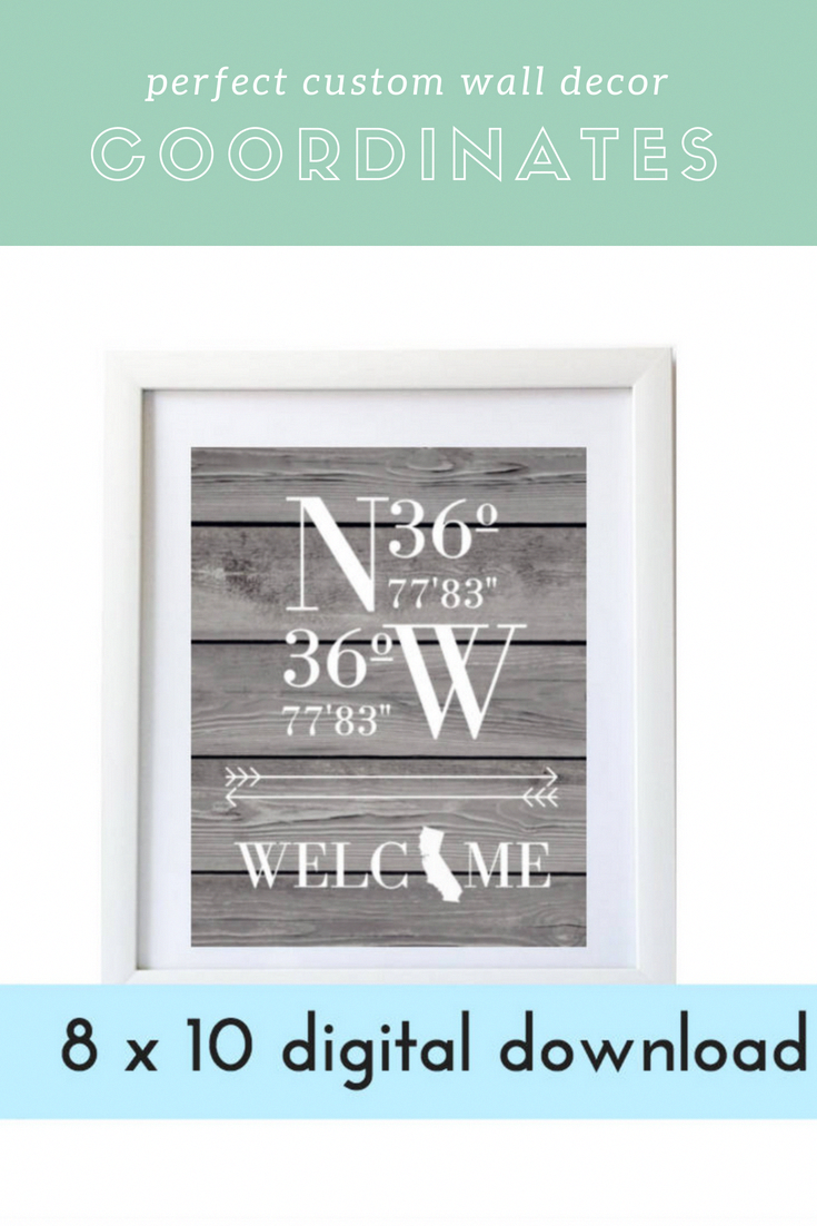 printable personalised gift personalized gift coordinates home