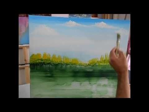▶ Painting Clouds with Riestra, A Time Lapse Speed Landscape Painting with Acrylic - YouTube