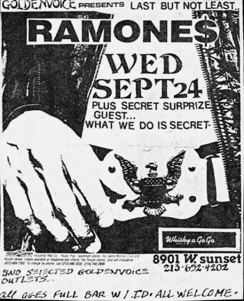 The Ramones plus secret guest at The Whisky Sept 24th 1986
