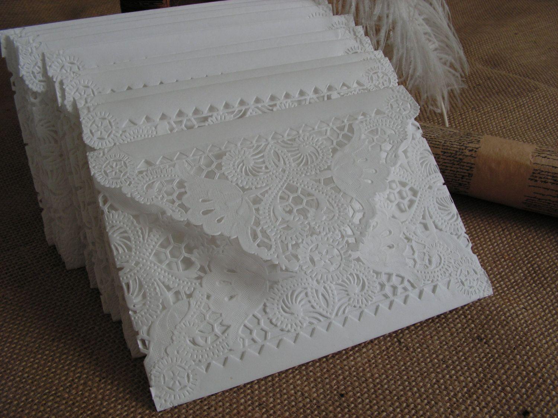 Vintage doily paper lace envelopes handmade white wedding
