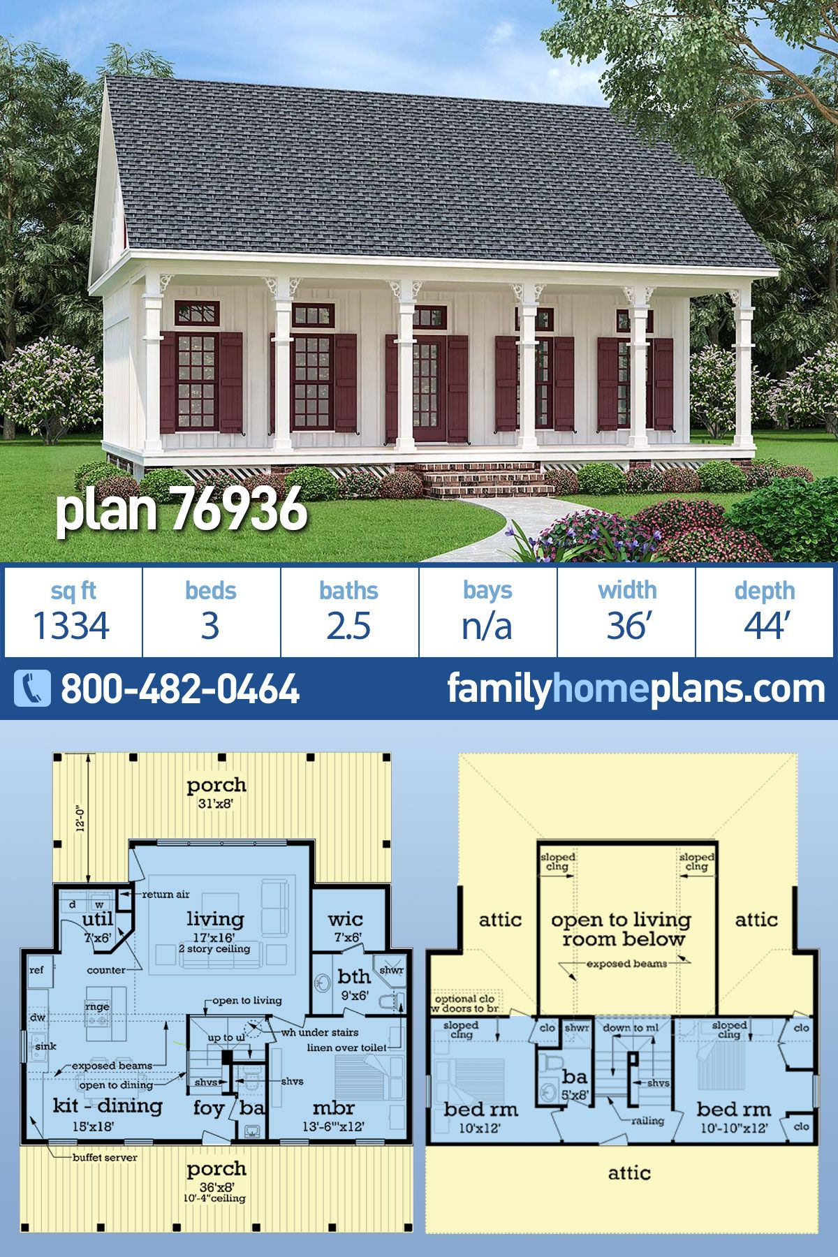 Southern Style House Plan 76936 With 3 Bed 3 Bath Southern House Plans Southern Cottage Southern Cottage Homes