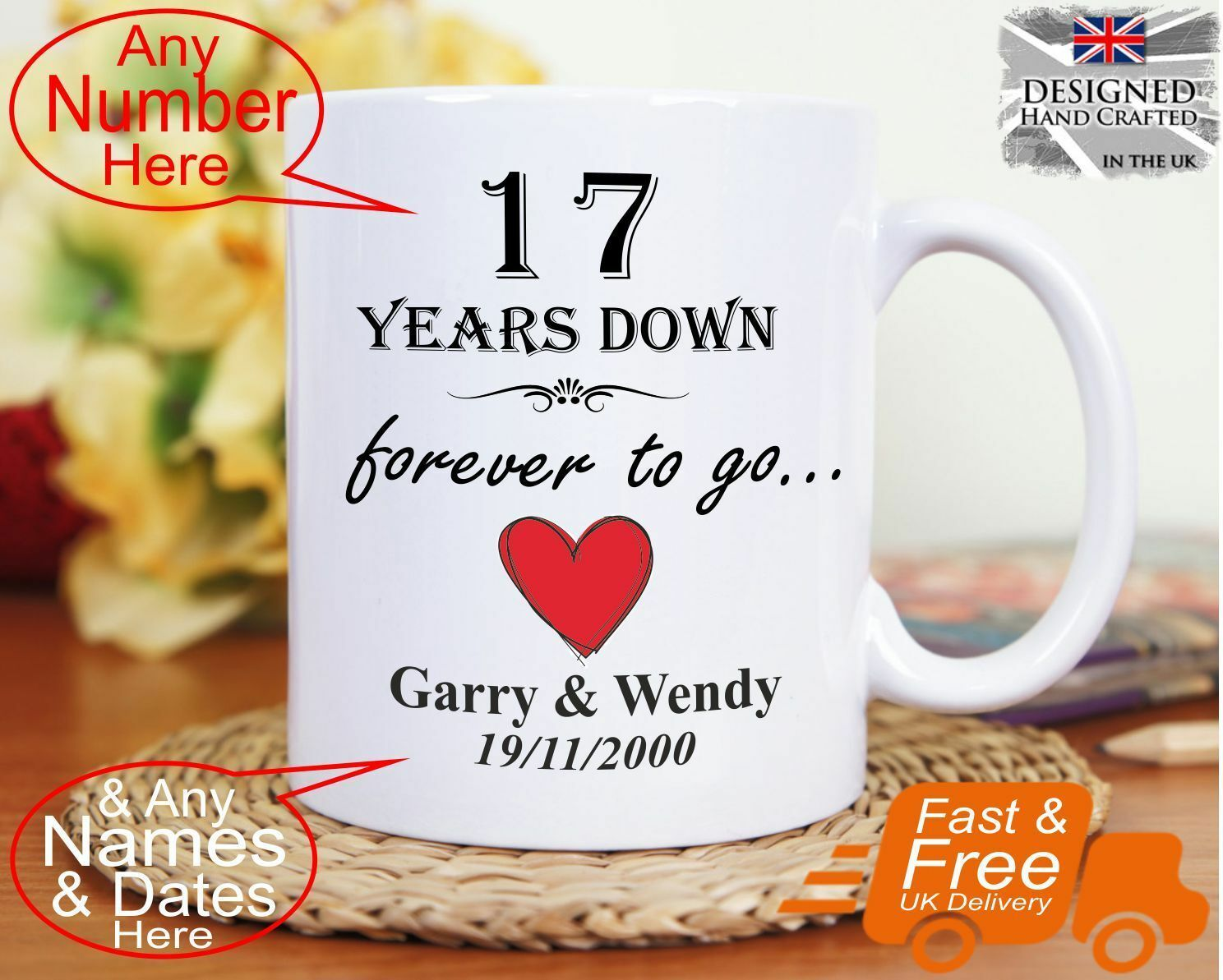 17th Wedding Anniversary Gift 17 Years Marriage Any Dates Names Any An 17th Wedding Anniversary 10th Wedding Anniversary Gift Golden Wedding Anniversary Gifts