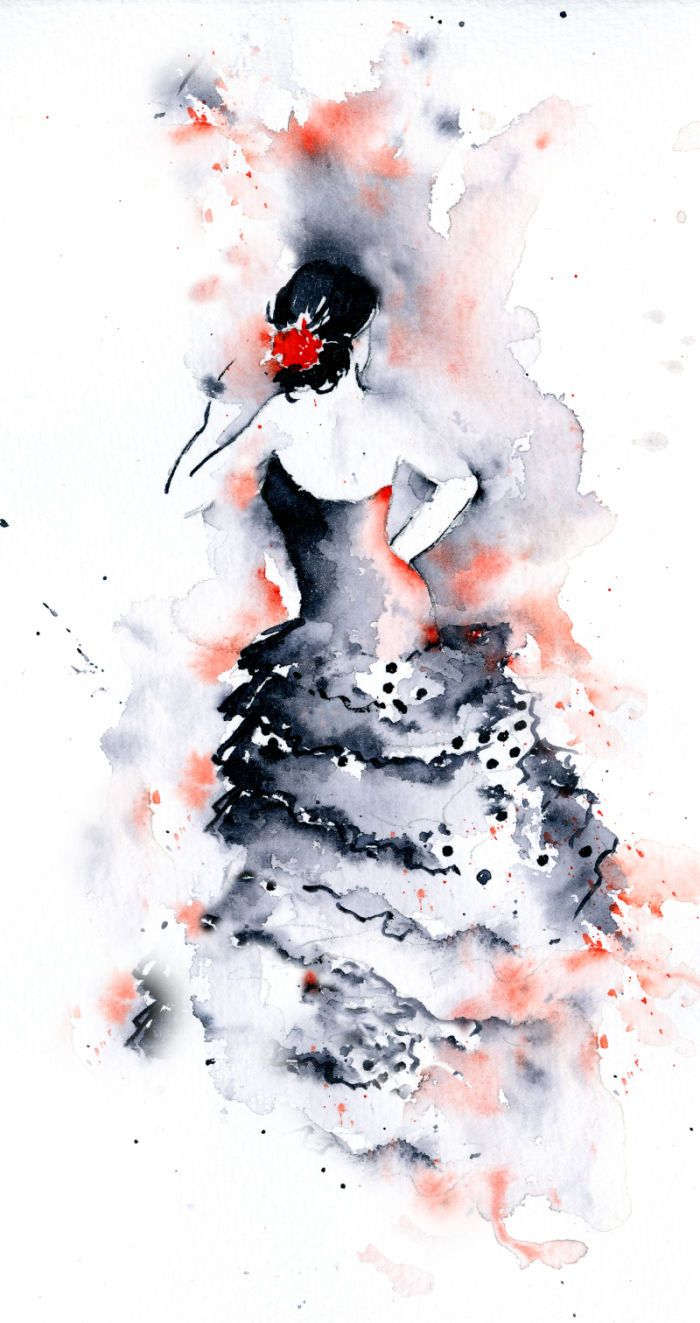 Rachel Mcnaughton Flamenco Illustration Effet Aquarelle