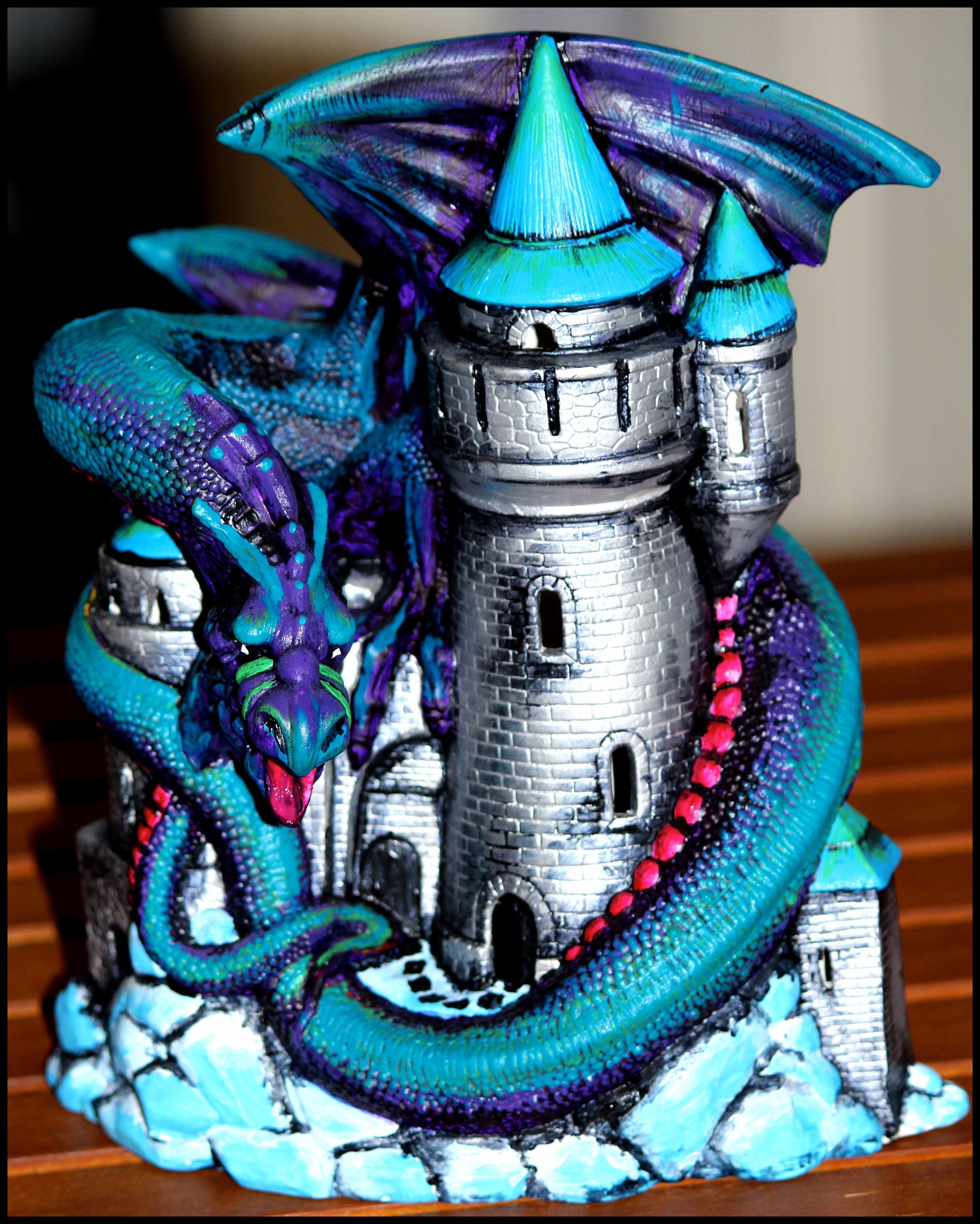 A Dragon On A Castle Hand Painted Ceramic Figurine Item