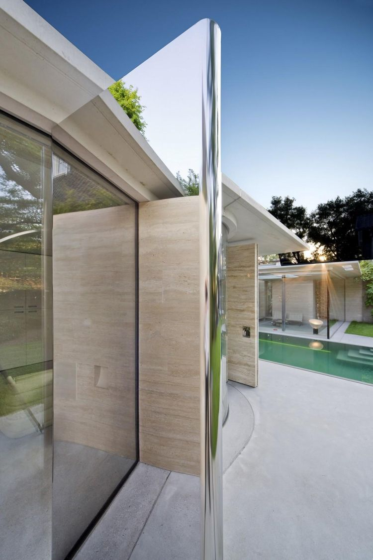 steinverkleidung wand kalkstein aussen spiegel licht modernes design ...