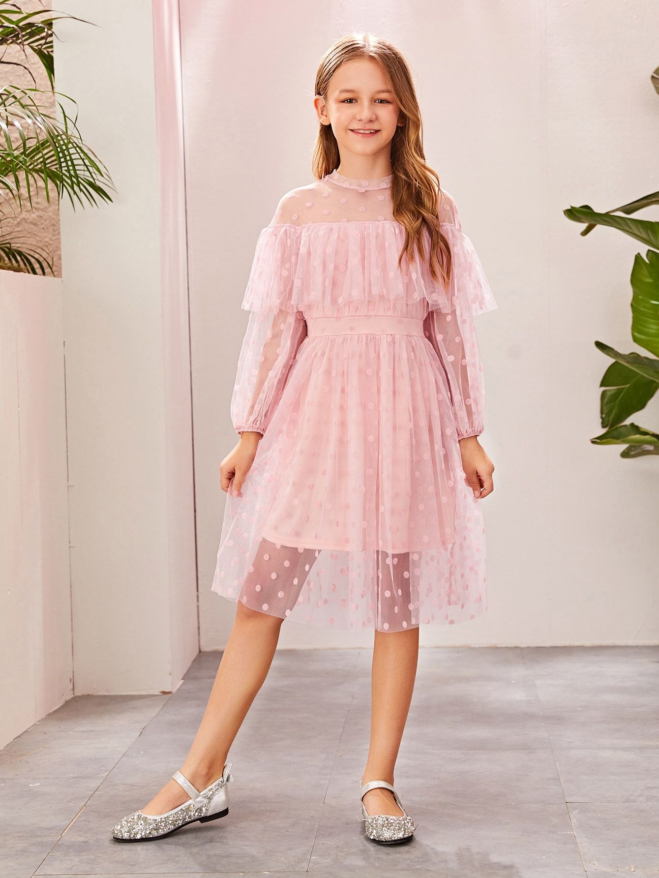 Girls Ruffle Foldover Front Dobby Mesh Overlay Dress #Sponsored