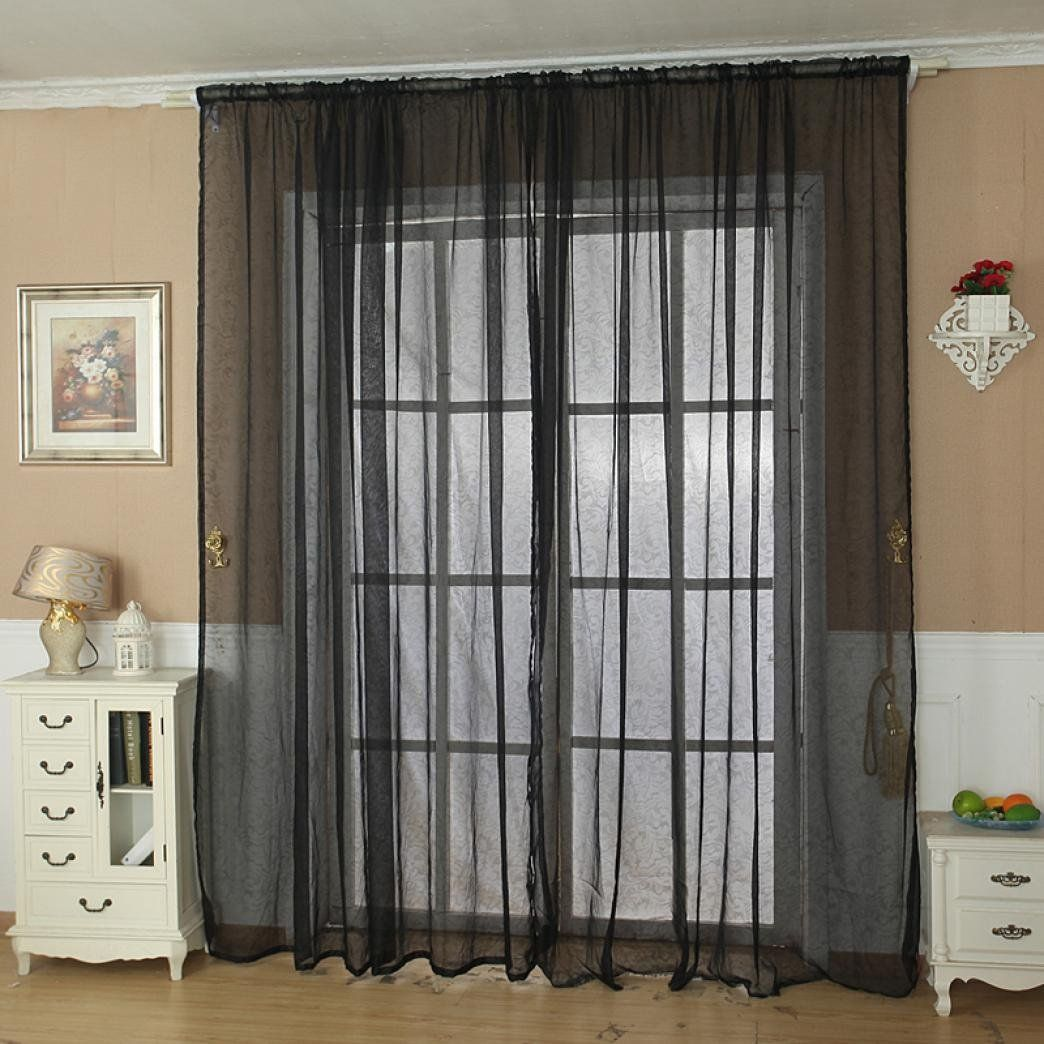 Curtains abstract made to measure felicia duckegg curtains - Ouneed Fashion Solid Color Tulle Door Window Curtain Drape Panel Sheer Scarf Valance
