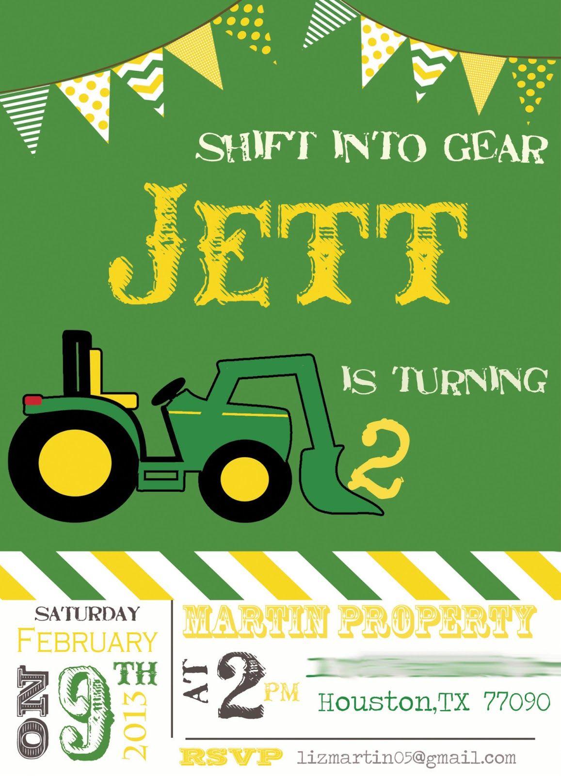 Tractor Birthday Party Invitation | Birthday #2 | Pinterest ...