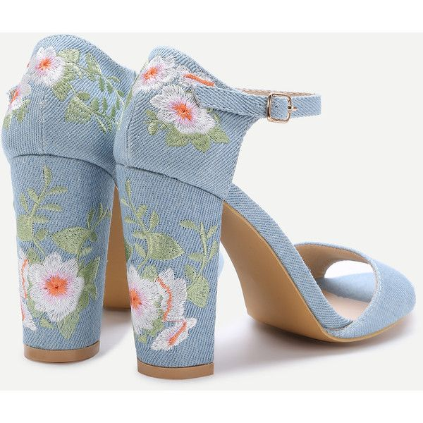 Blue Flower Embroidery Chunky Heel Sandals ❤ liked on Polyvore featuring shoes, sandals, heels, blue heeled sandals, wide heel sandals, blue color shoes, chunky heel sandals and blue sandals