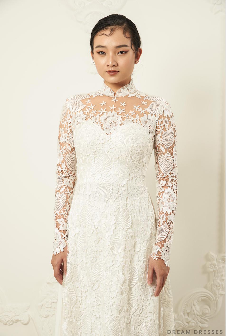 White Bridal Ao Dai Traditional Vietnamese Lace Bridal