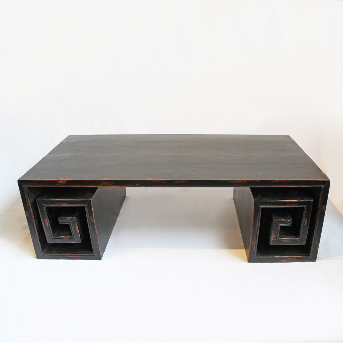 Vintage Black Distressed Coffee Table With Greek Key Rolled Leg. Distressed  Black Finish With A