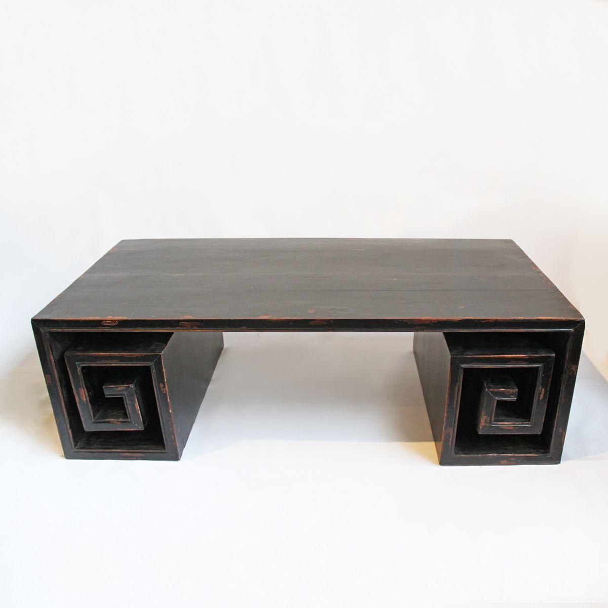 Vintage Black Distressed Coffee Table With Greek Key Rolled Leg