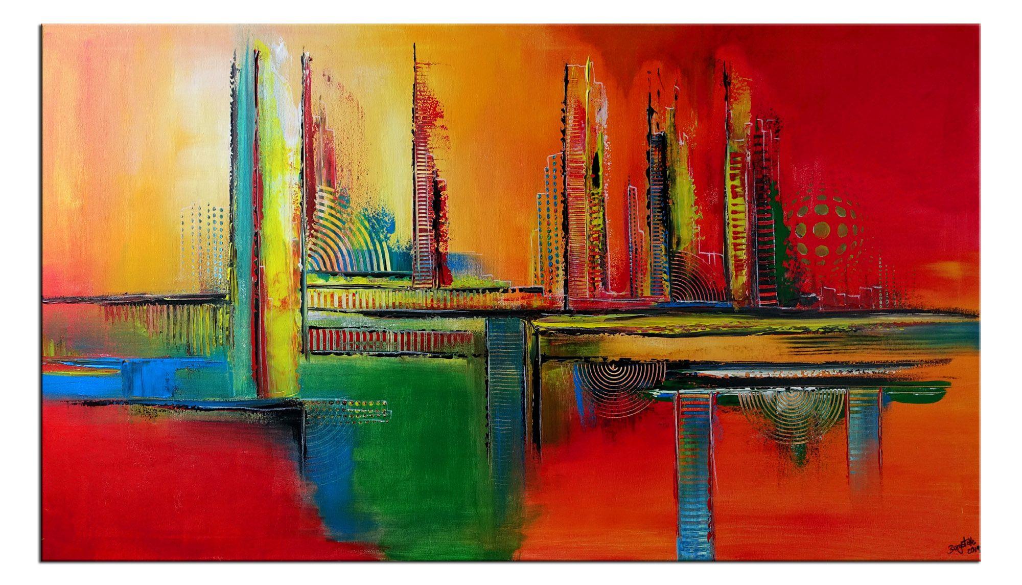 abstrakte kunst malerei acryl gemalde rot gelb abstrakt moderne landschaftsmalerei ölbilder modern