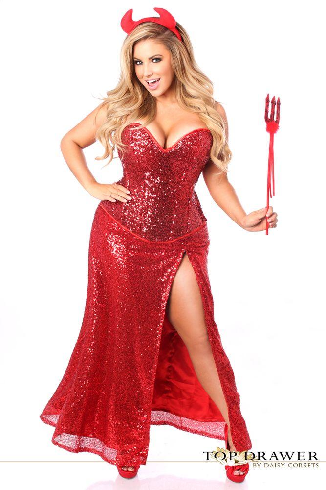 Plus size Sequins Corset Red Devil Costume - Long skirt Pitchfork ...