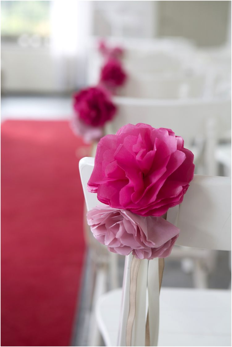 Paper Flower Chair Decorations Diy Our Wedding Paper Wedding